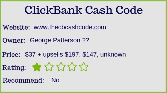 Clickbank Cash Code rating