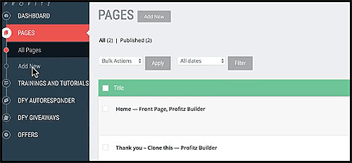 create pages with the editor