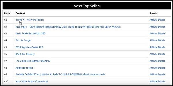 jvzoo's top ten sellers list on dashboard