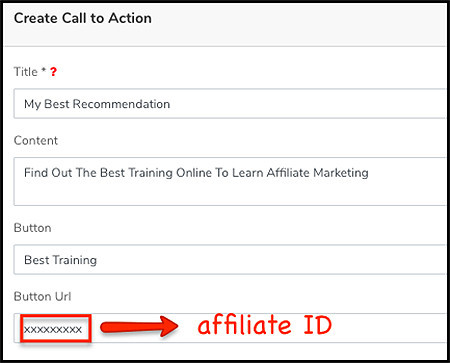 how to fill in your call to action