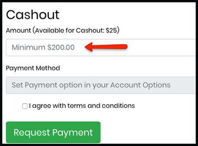 minimum payout of $200
