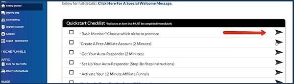 12 minuteaffiliate has a quickstart checklist