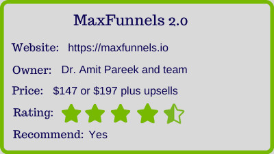 MaxFunnels 2.0 review - rating
