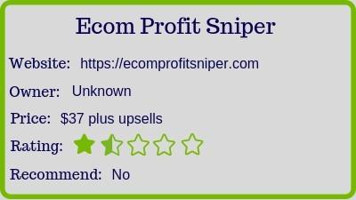 The Ecom Profit Sniper? (Review) rating