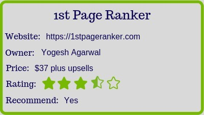 The 1st Page Ranker review rating
