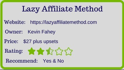 Lazy Affiliate Method review rating