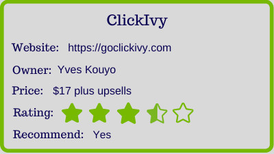 ClickIvy review - rating