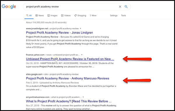 consistent profits with high ranking sites
