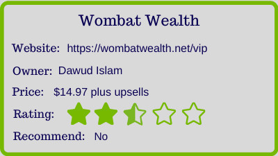 wombat wealth review - rating
