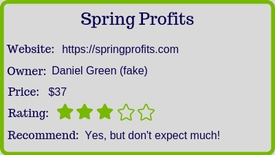 The spring profits review rating
