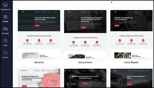 built-in landing page templates
