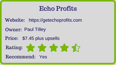 the echo profits review - rating