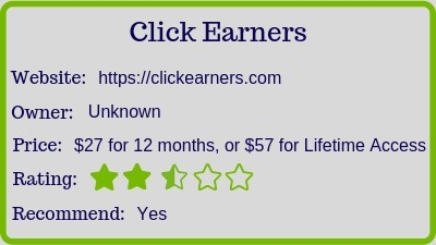 click earners.com reviews (rating)
