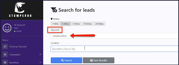search for leads by keyword