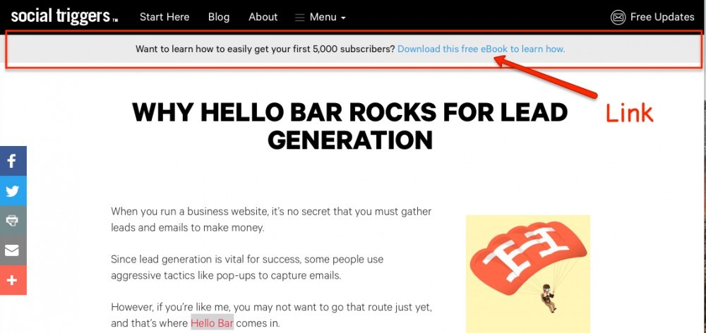 email sign up form examples of hello bar