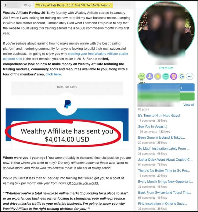 wealthy affiliate blog include success testimonials