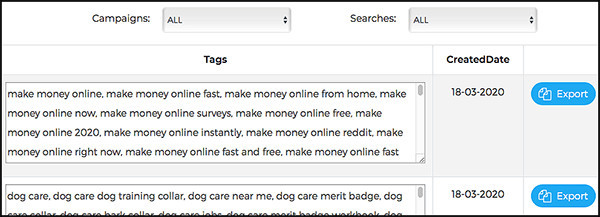 app keeps track of all your keywords
