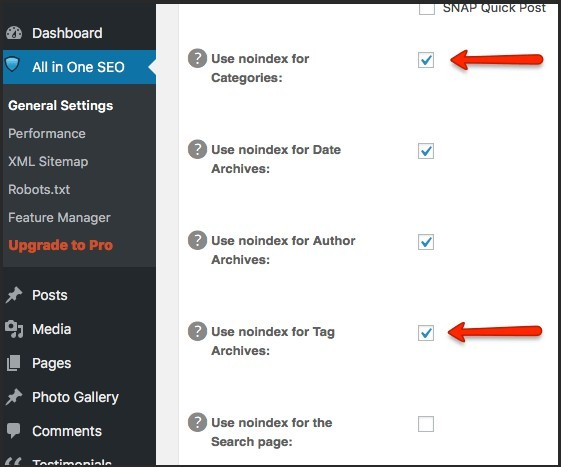 wordpress category changer to noindex