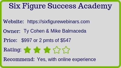 Six Figure Success Academy   Deals Under 500 June 2020