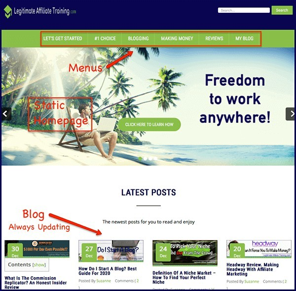 website with blog