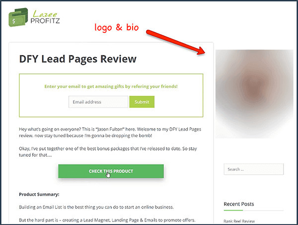 you can add your photo to lazy profits