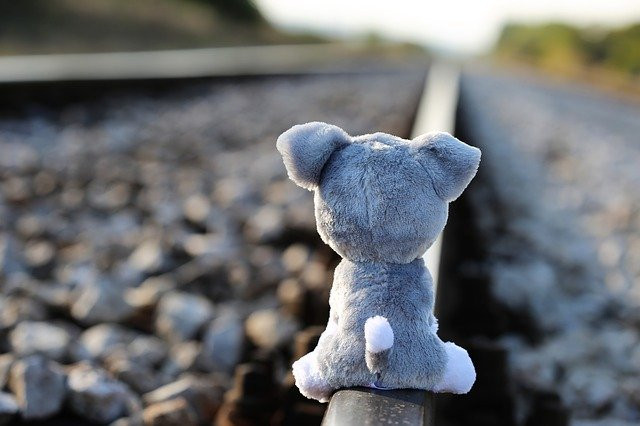 teddy bear on train track