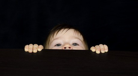 child peeking