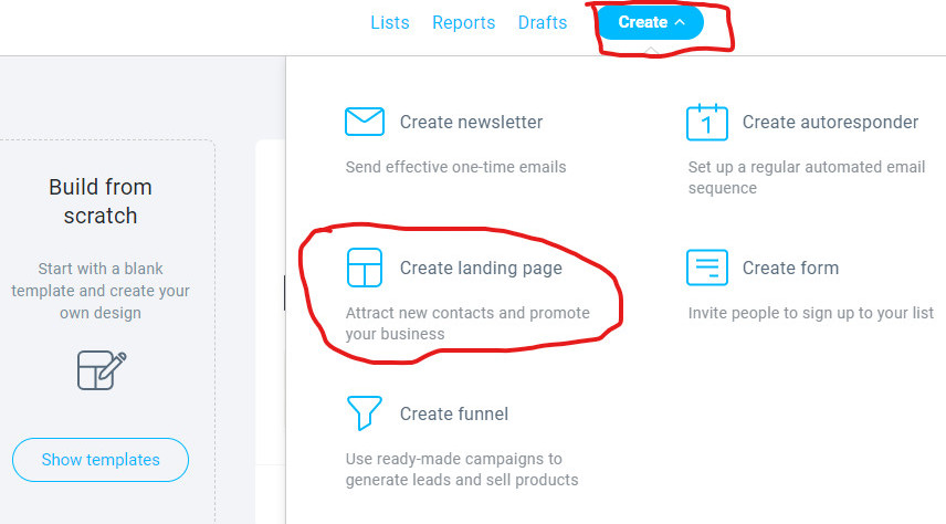how to build a capture page with GetResponse