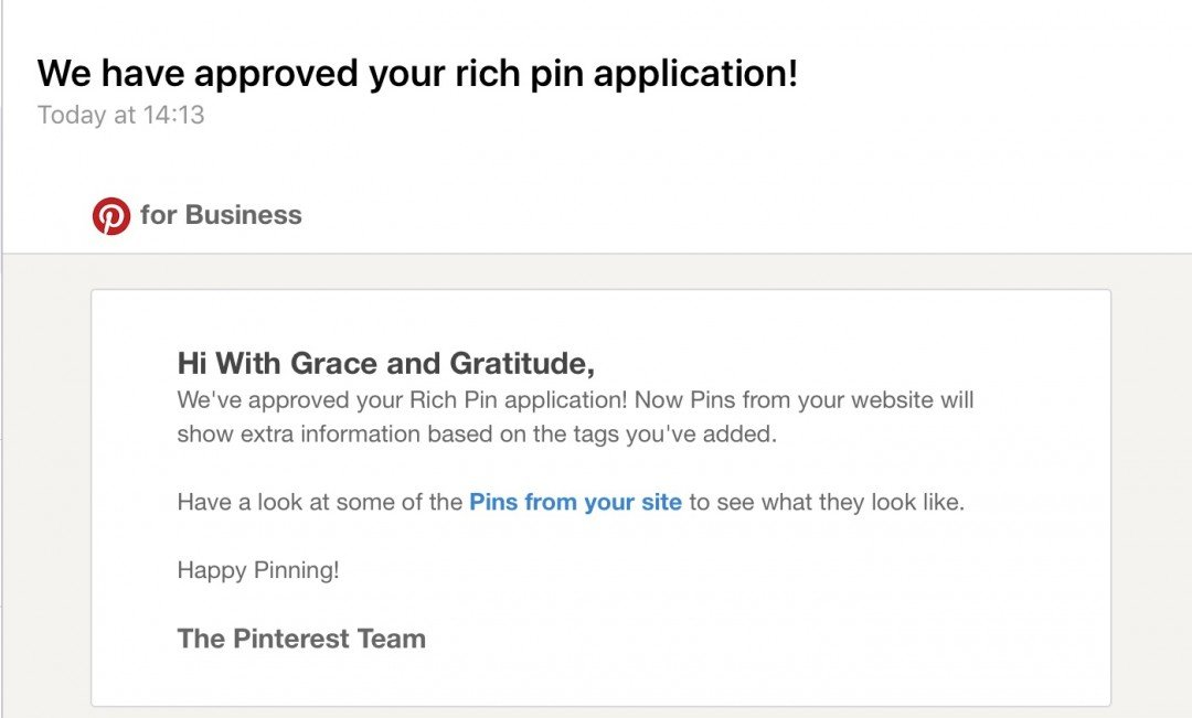Pinterest Rich Pins approval