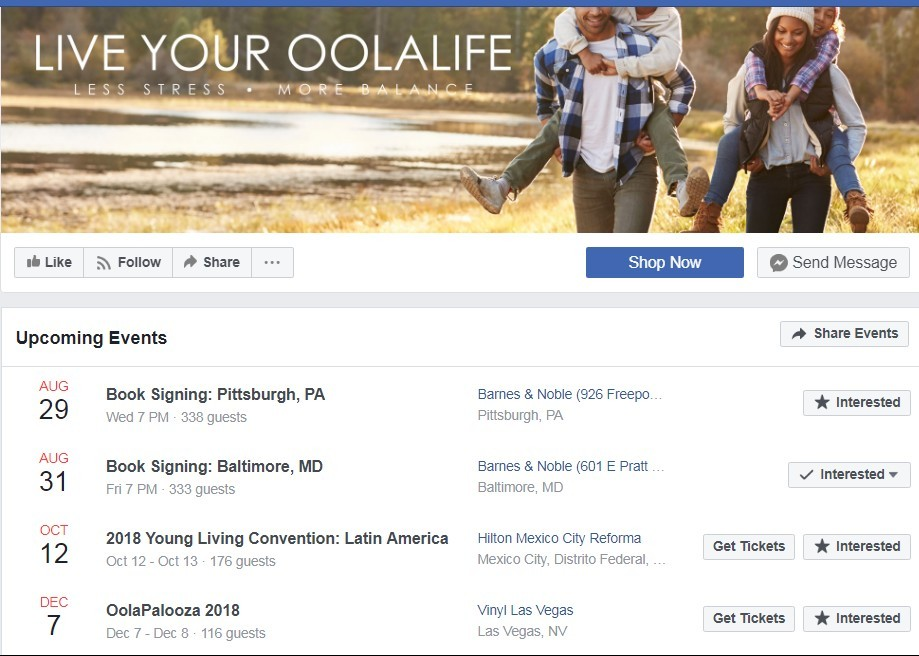 Oola Tea Facebook Events