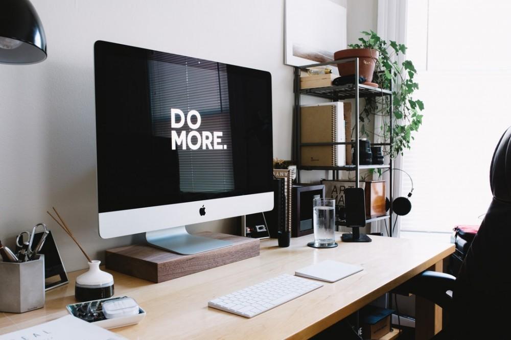 computer desk work space