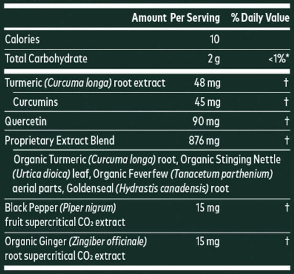 Gaia Turmeric Supreme Sinus Support Ingredients (Supplements Facts)