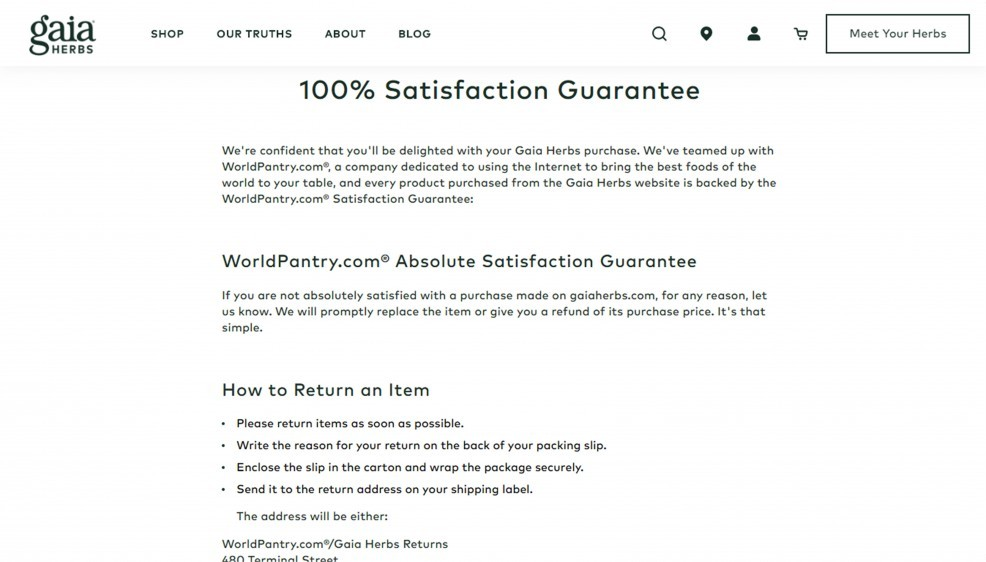 The Brand Also Persists On 100 Percent Satisfaction Guarantee