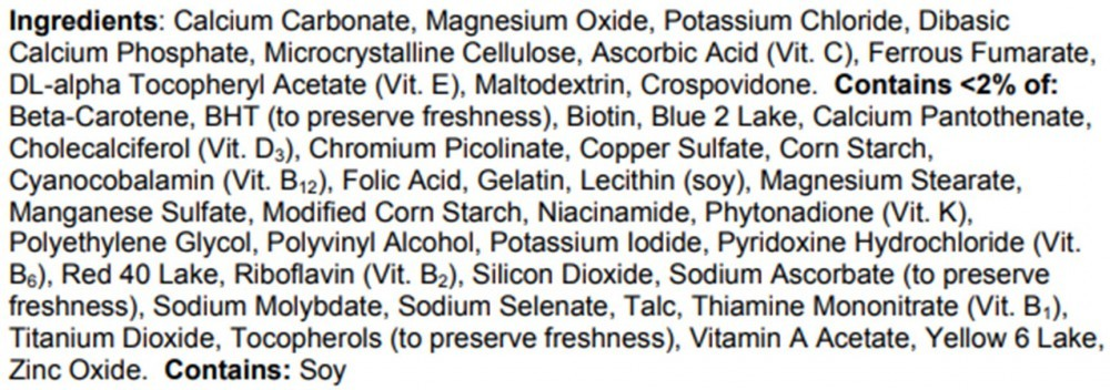 Centrum Women Ingredients (Supplement Facts)