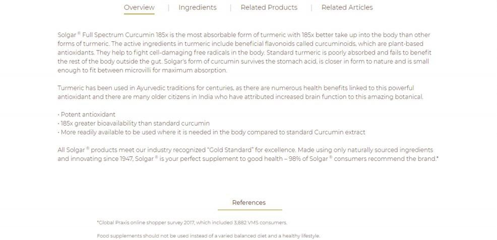 Preview Of The Solgar Curcumin Description Page