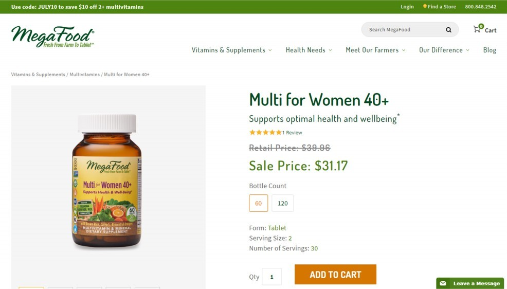 MegaFood Multi for Women 40 Plus Review