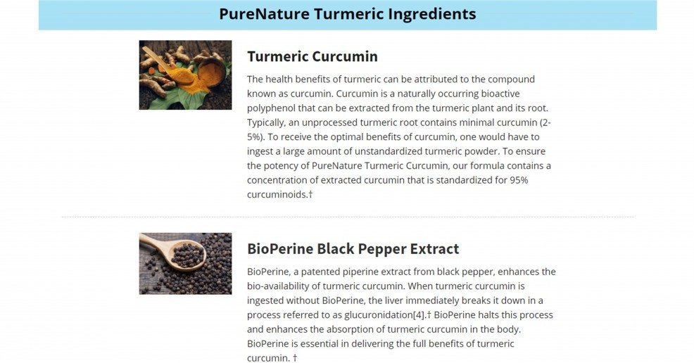 Example Of The Description Page Of PureNature Turmeric Curcumin Supplement