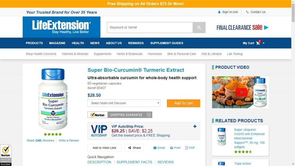 Life Extension Super Bio-Curcumin Review