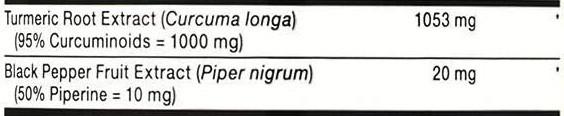 GNC Turmeric Curcumin Extra Strength Ingredients