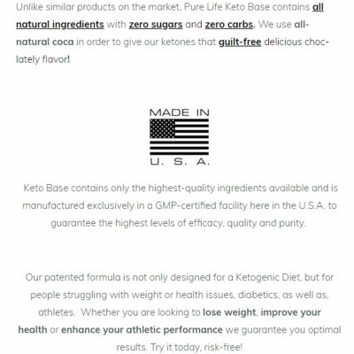 High Quality Claims On The Description Page Of The Pure Life Keto