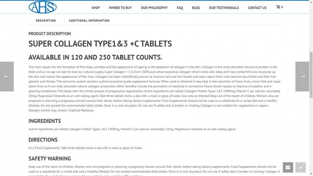 AHS Super Collagen Description Page