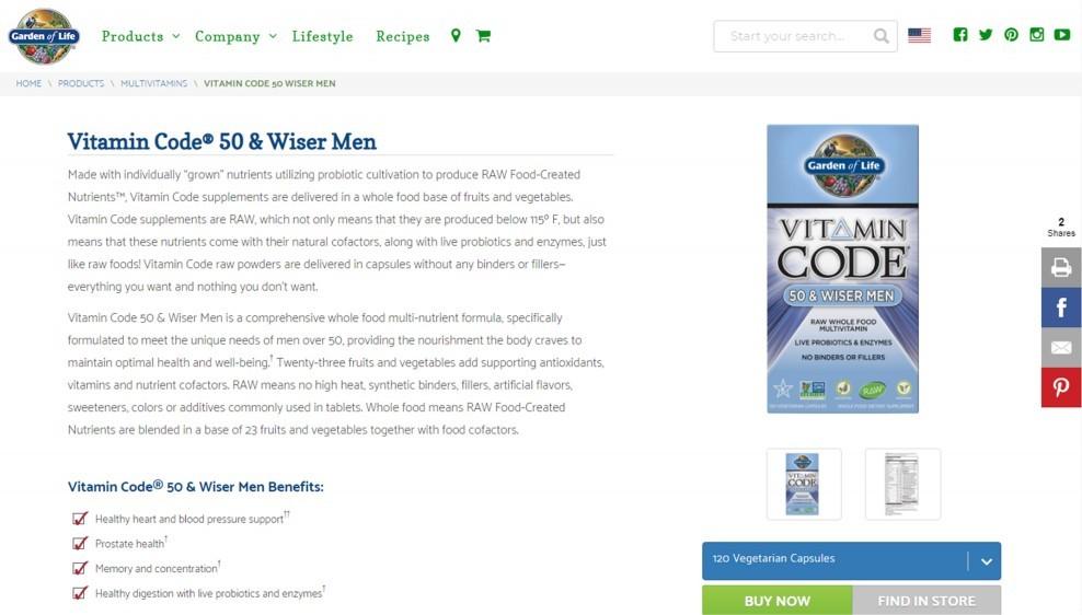 Garden of Life Vitamin Code 50 & Wiser Men Review