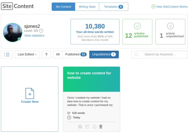 Wealthy Affiliate content writing tool