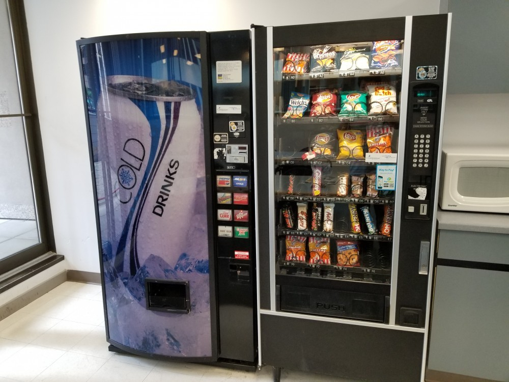 vending machine inside a lunch room in downtown