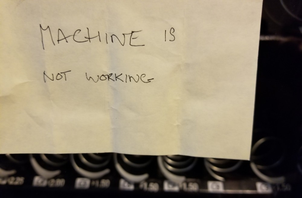 another out of order vending machine