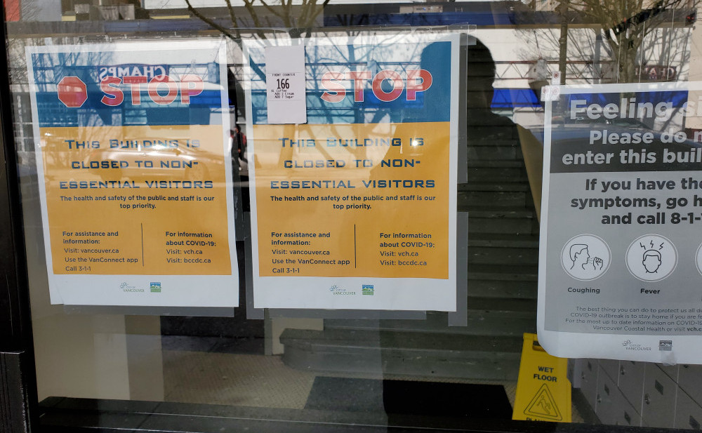 corona virus signage building closed
