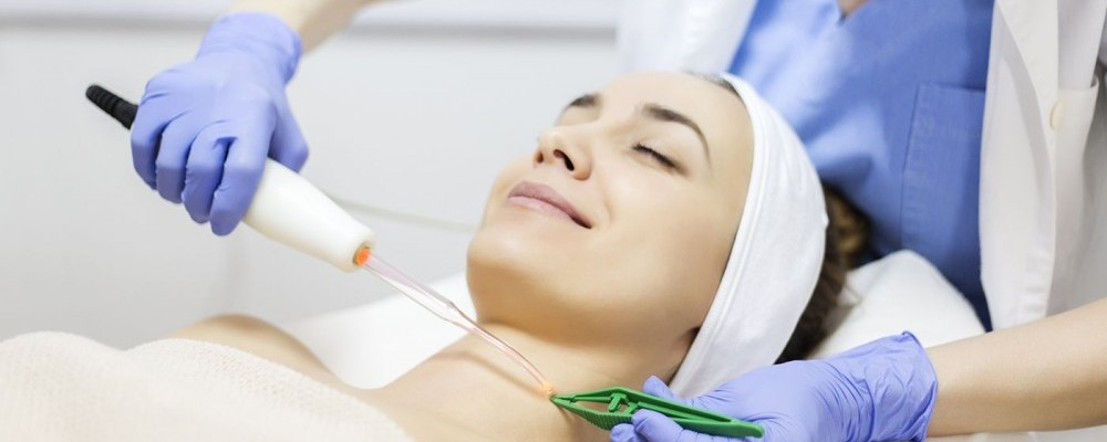 light therapy procedure at clinic