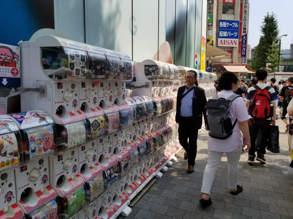 japanese toy vending machine at Akihabara street