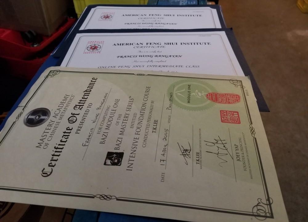 feng shui certificate
