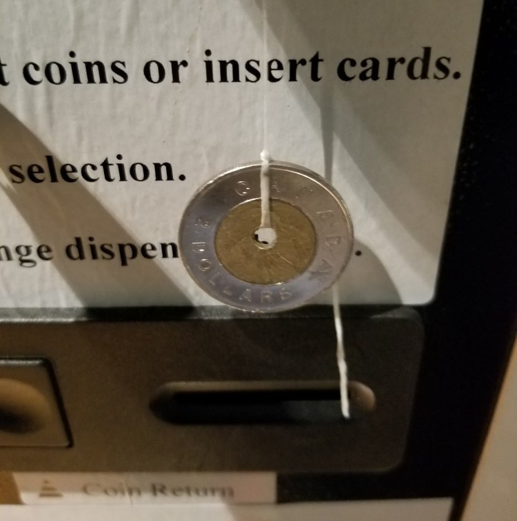 How to hack a vending machine with a coin and string